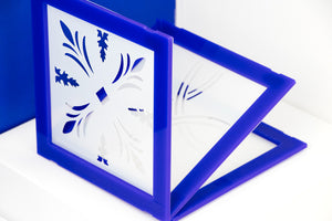 Frame with cut stencil mylan template, to use as an embossing. Discover the Stencil Set Pattern - Azulejos de fachada de Lisboa ® URBAN EDITIONS