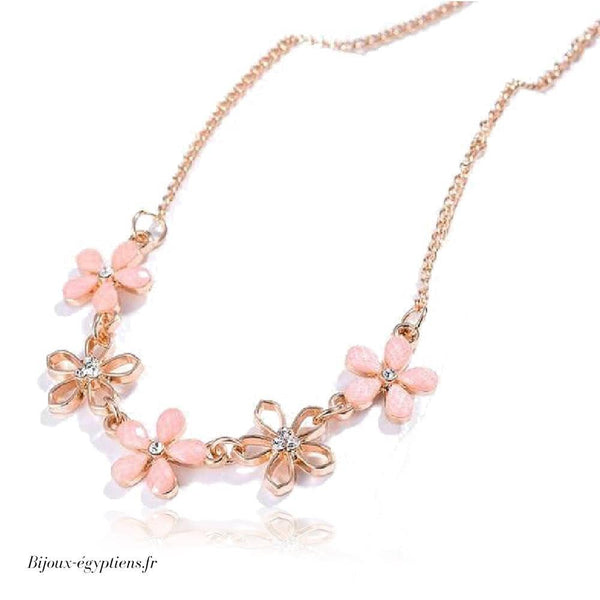 Collier Plastron <br> Rose Pale Fin - Bijoux-egyptiens.fr
