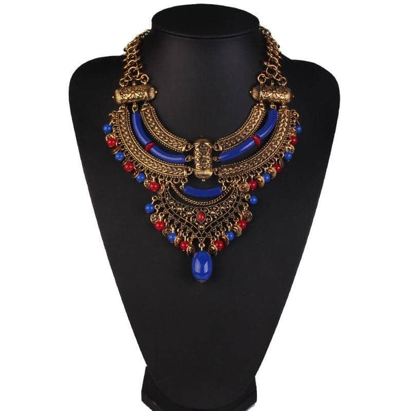 Collier Plastron <br> Ethnique Grand - Bijoux-egyptiens.fr
