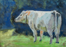 Load image into Gallery viewer, White Cow Original Pastel Painting