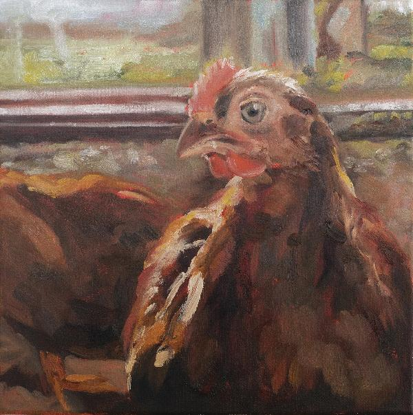 Katee's Chicken Original Oil Painting