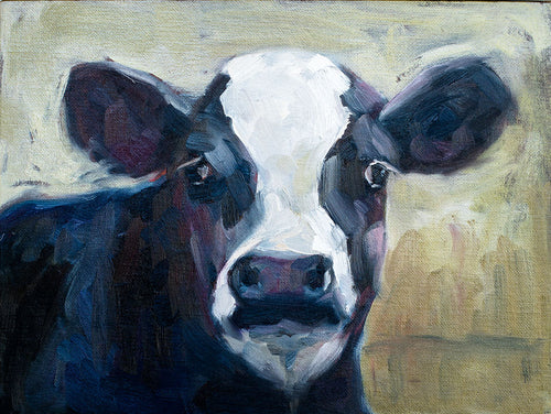 Black and White Holstein Cow Original Oil Painting