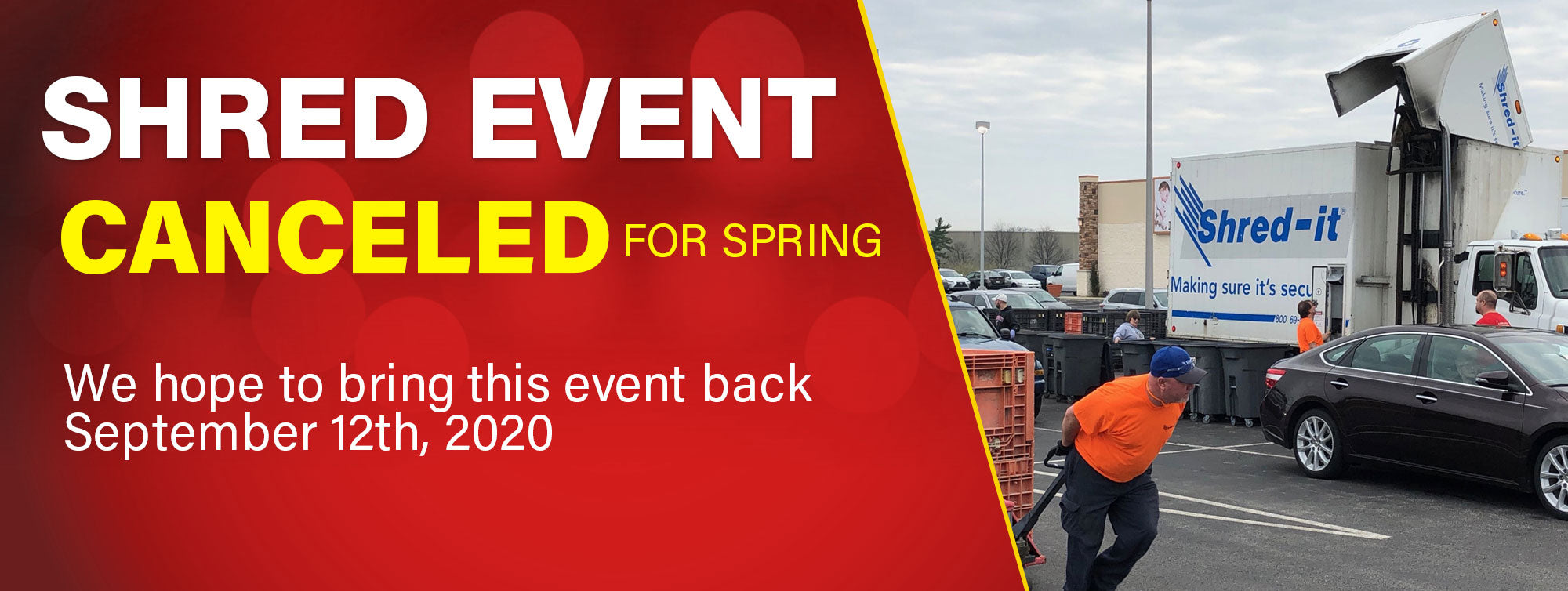 Shred Event Cancelled