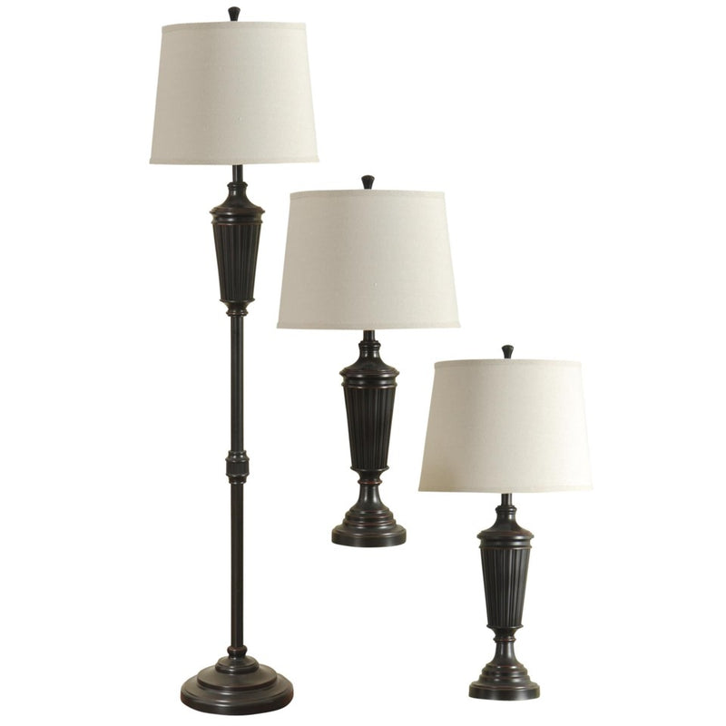 Bronze Wood Finish Lamp Trio