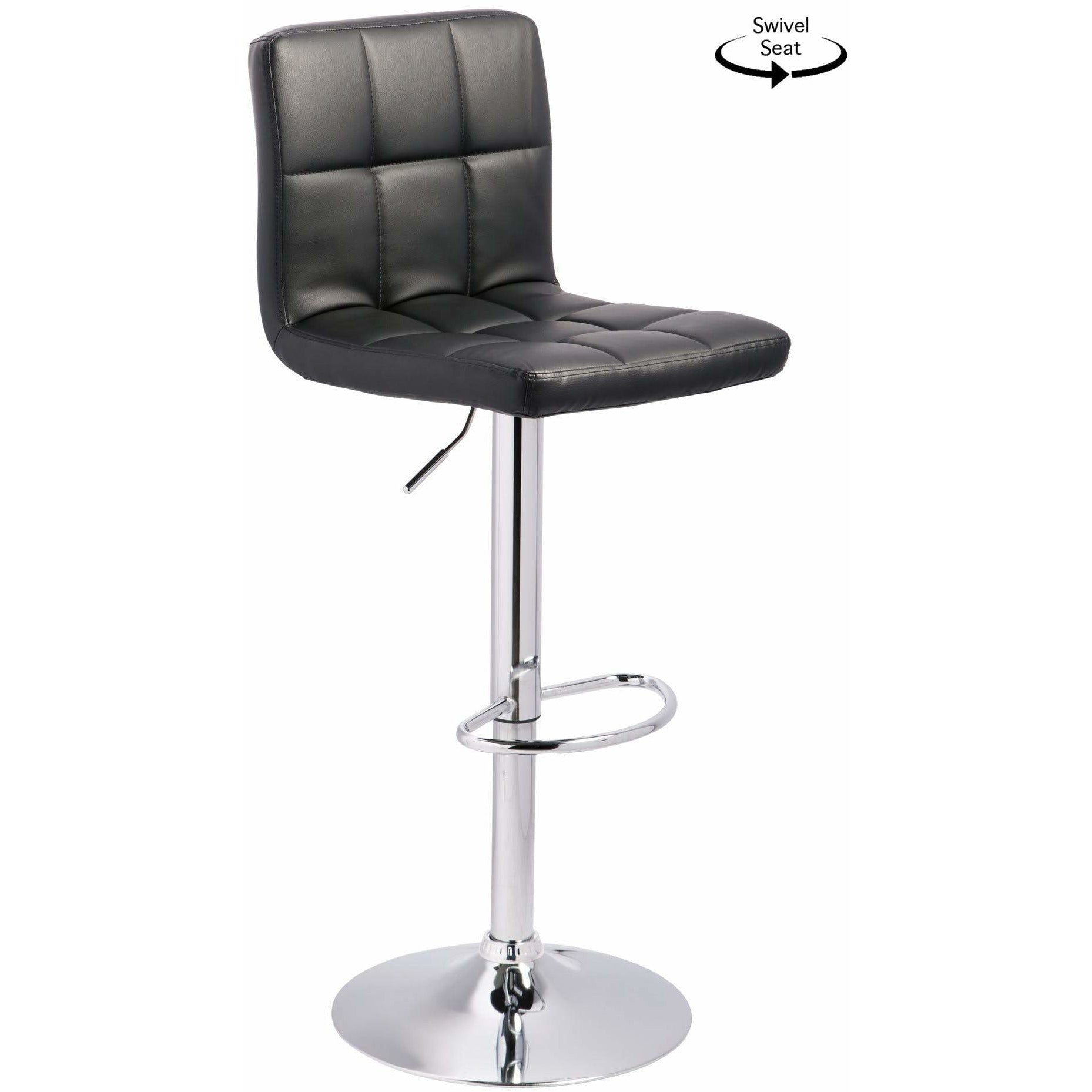 Adjustable Swivel Barstool - Quilted Black