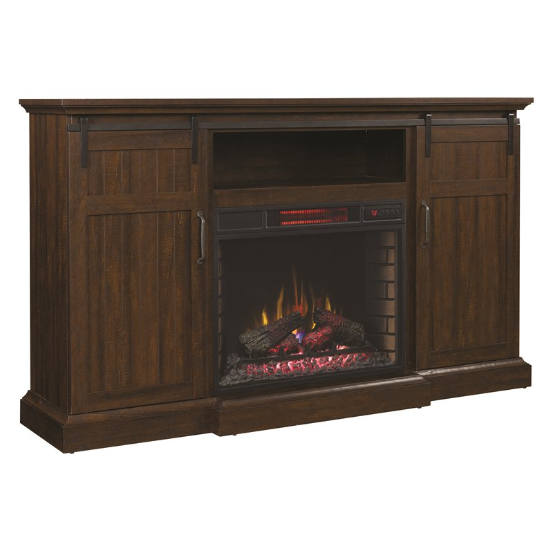 Manning TV Stand with Speakers and Fireplace Insert