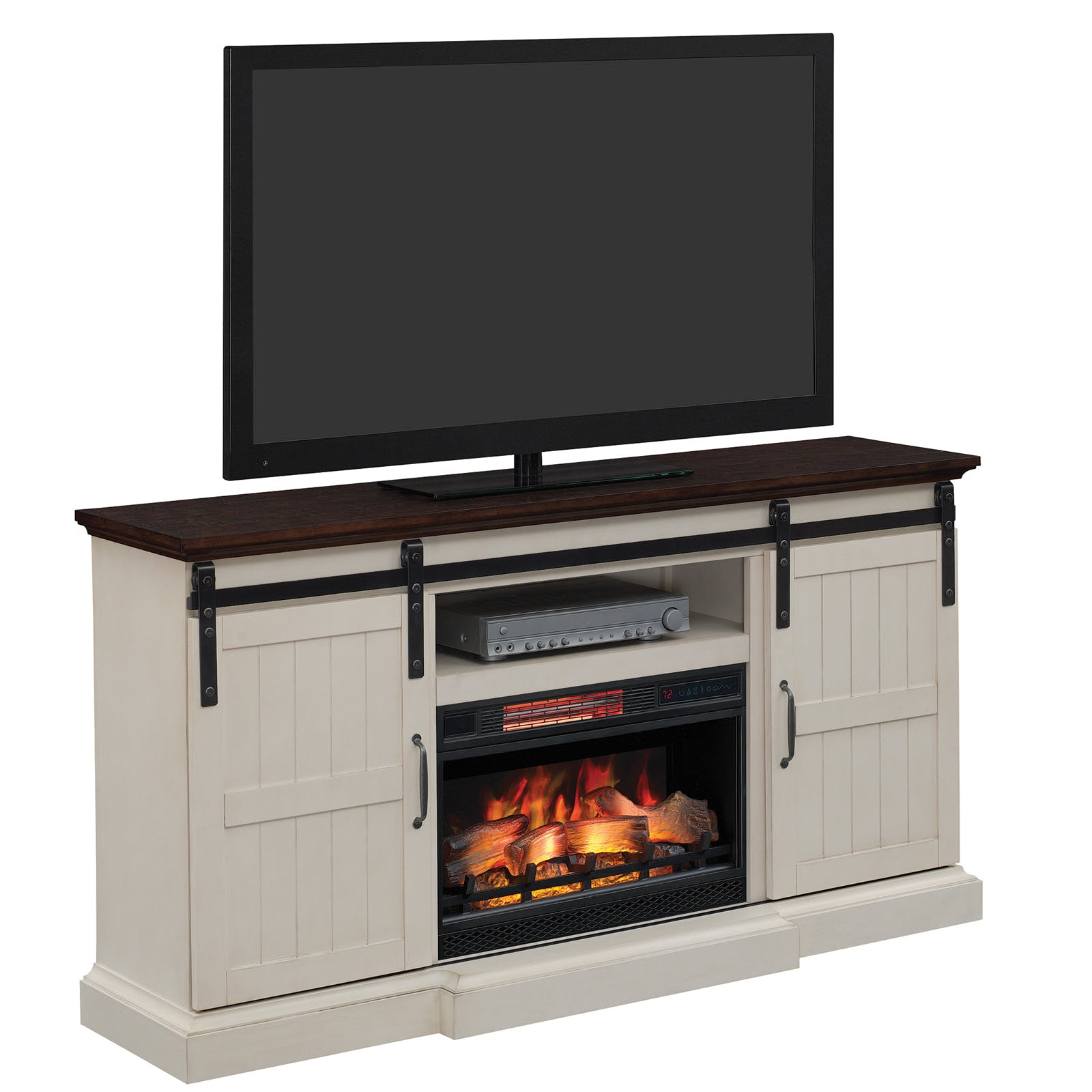 Weathered White Tv Stand With Fireplace Insert Furniture