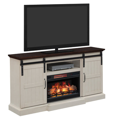 Weathered White TV Stand with Fireplace Insert