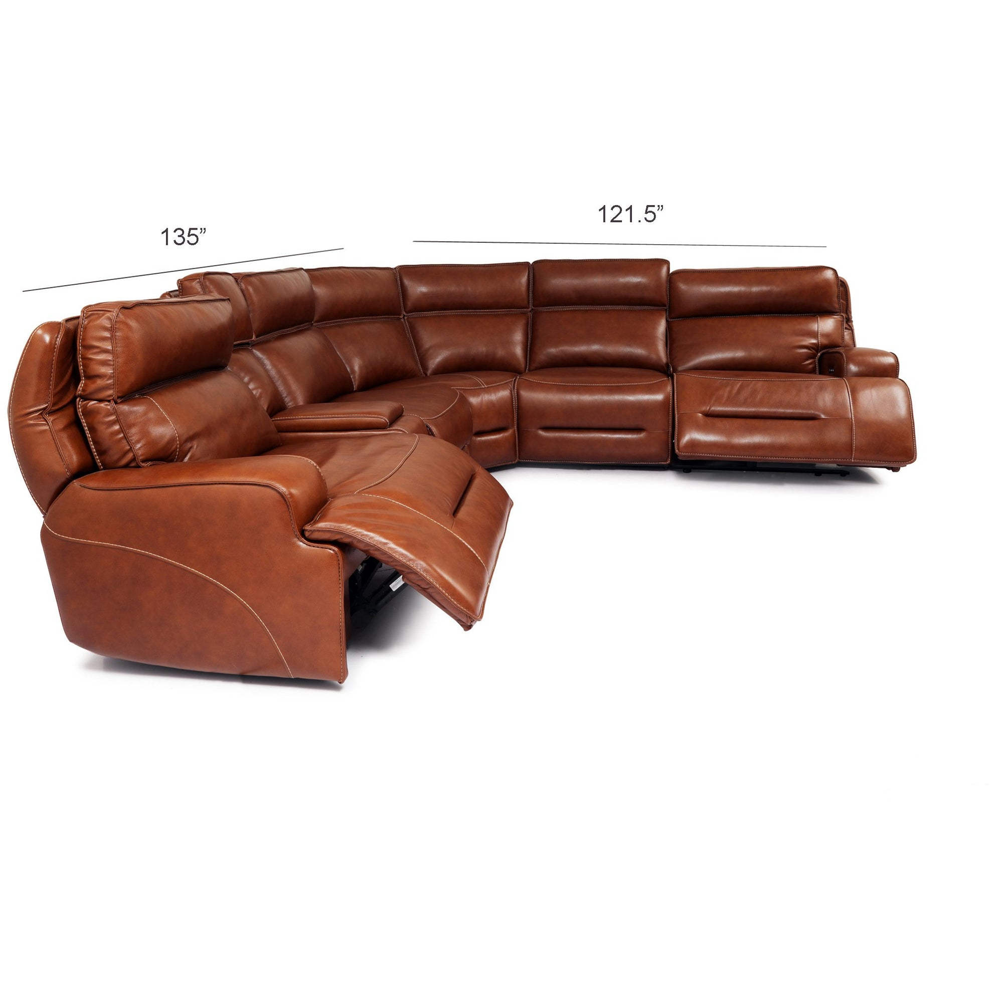 Caramelle Leather Power Sectional