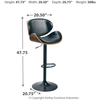 Adjustable Swivel Barstool - Black