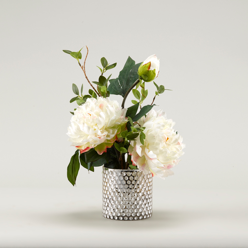 Peonies in Gold Mercury Glass Vase