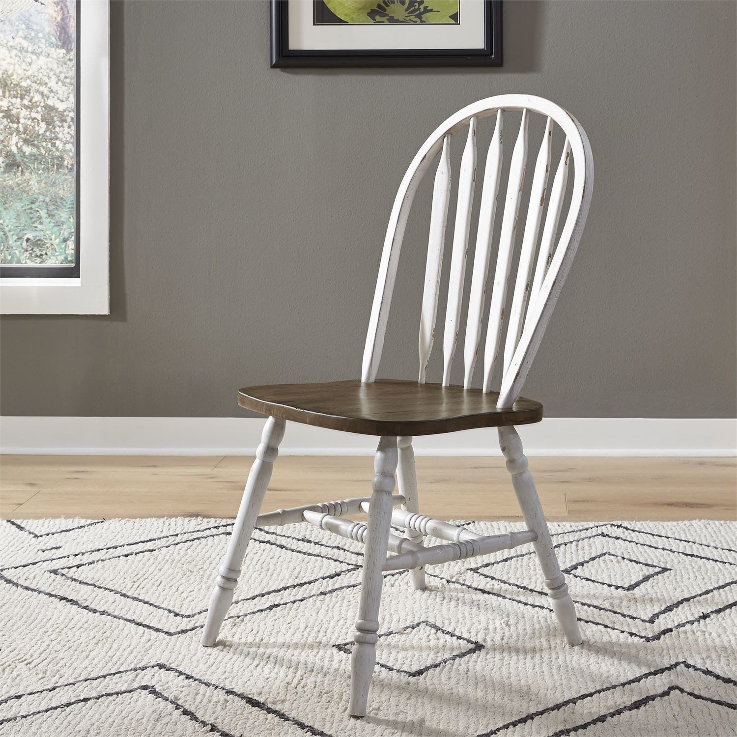Carolina Crossing White Windsor Side Chair