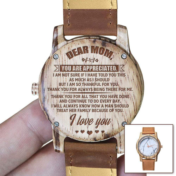Dear Mom - Rose-Gold Dial Wood Watch - WH-DF25-20