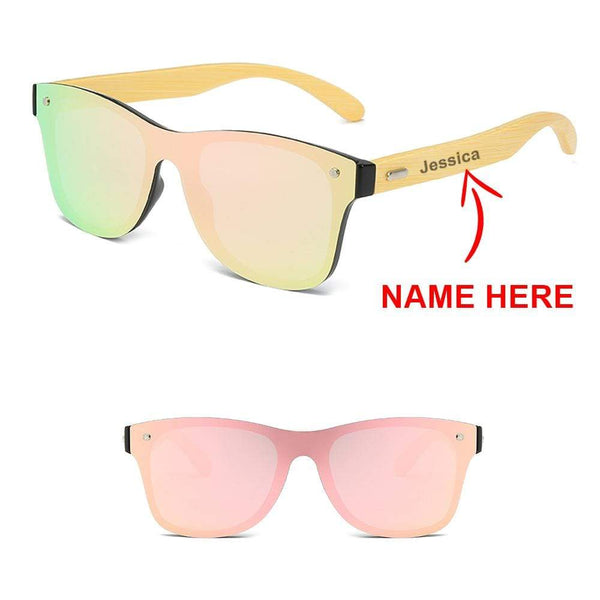 Personalised Name - Wayfarer inspired Wood Sunglasses