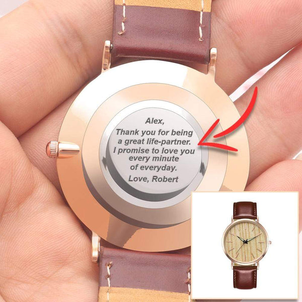Personalized Back-Engraved Rose Gold Watch WHA-F01ZR