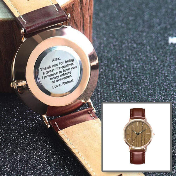 Personalized Back-Engraved Rose Gold Watch WHA-F02ZR