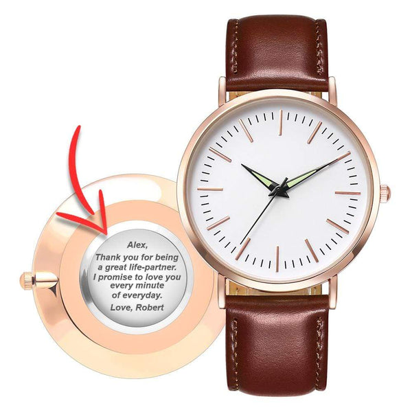 Personalized Back-Engraved Rose Gold Watch - WHA-F03ZR