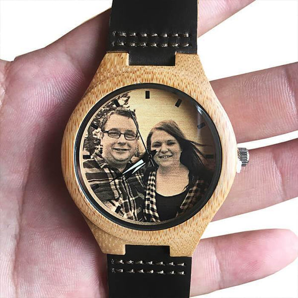 Personalized Engraved Photo Calendar Wood Watch