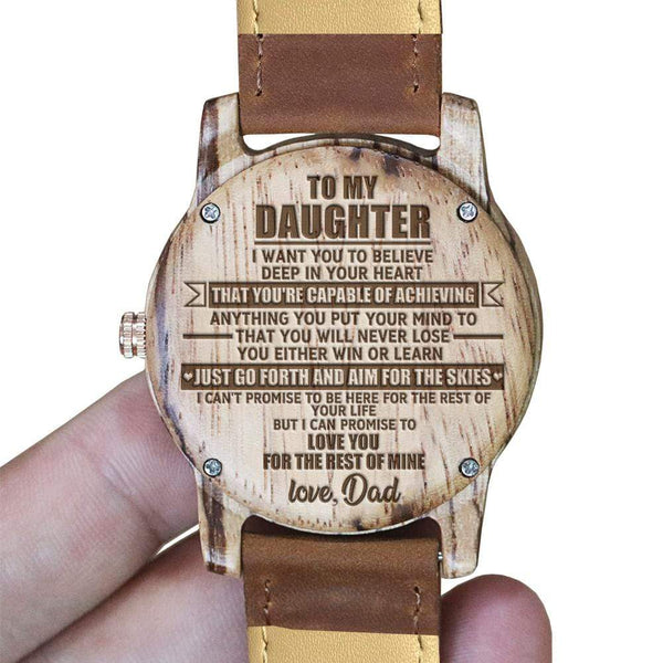To Daughter - From Dad - Vanilla Rose Wood Watch - WH-DF25-11