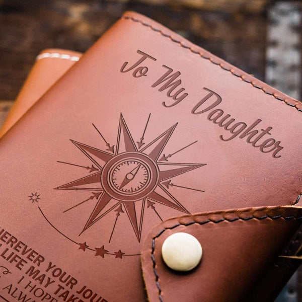 To Daughter - From Mom - Always Be Safe - Leather Journal Cover