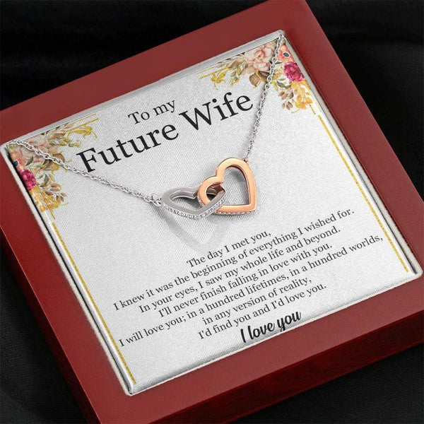 To My Future Wife - Interlocking Heart Necklace (Premium Mahogany Box) - SO480
