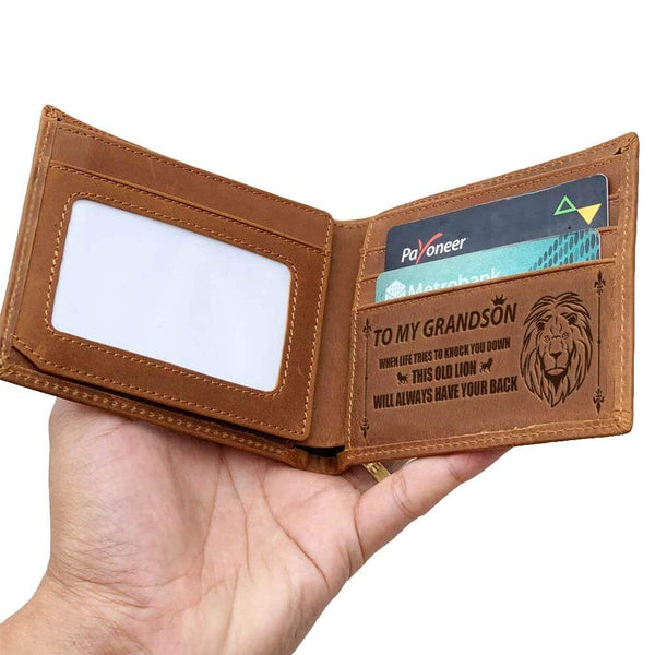 To My Grandson - Bi-fold Leather Wallet - WHWT01-FBOX06