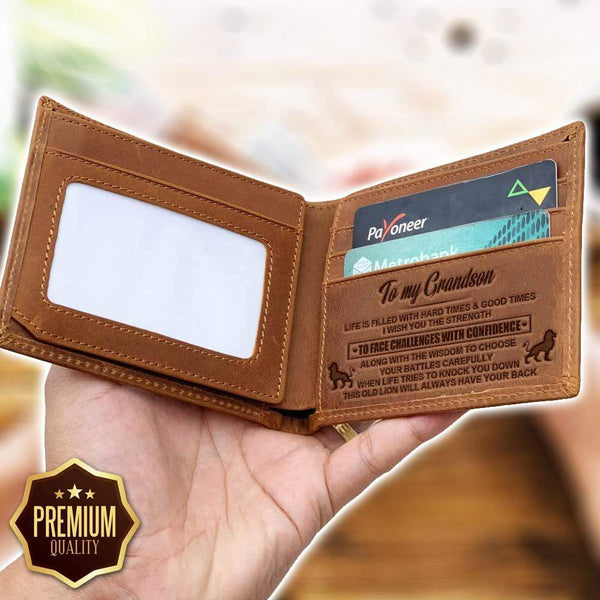 To My Grandson - Bi-fold Leather Wallet - WHWT01-FBOX36