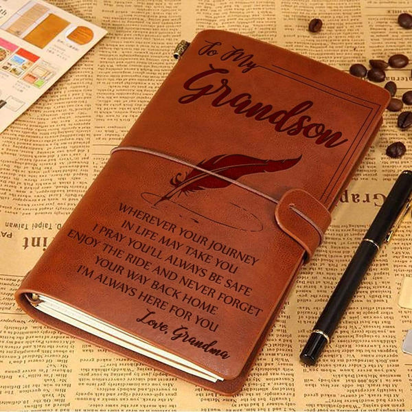 To My Grandson - From Grandma - Sentimental Vintage Journal