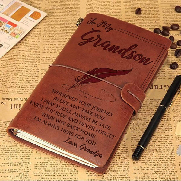 To My Grandson - From Grandpa - Sentimental Vintage Journal