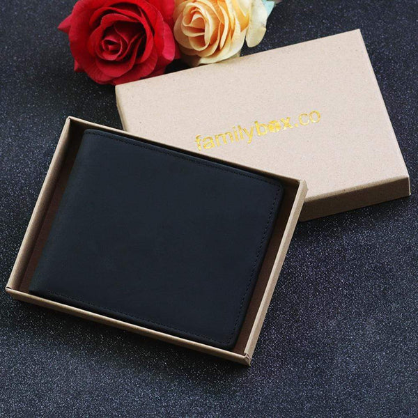 To My Husband - Bi-fold Black Leather Wallet - WHWT01-FBOX19-BK