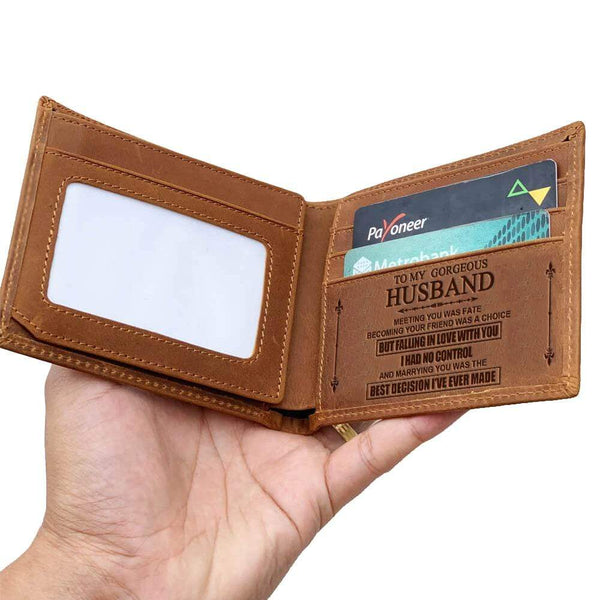 To My Husband - Fine Bi-fold Leather Wallet - WHWT01-FBOX24