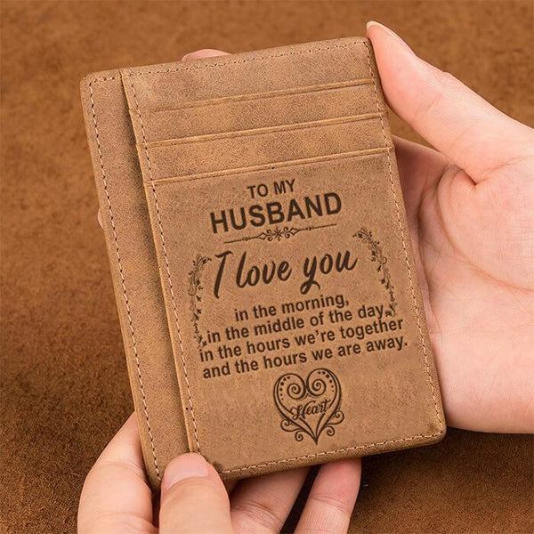 To My Husband - Slim Leather Wallet - WHWT02-01