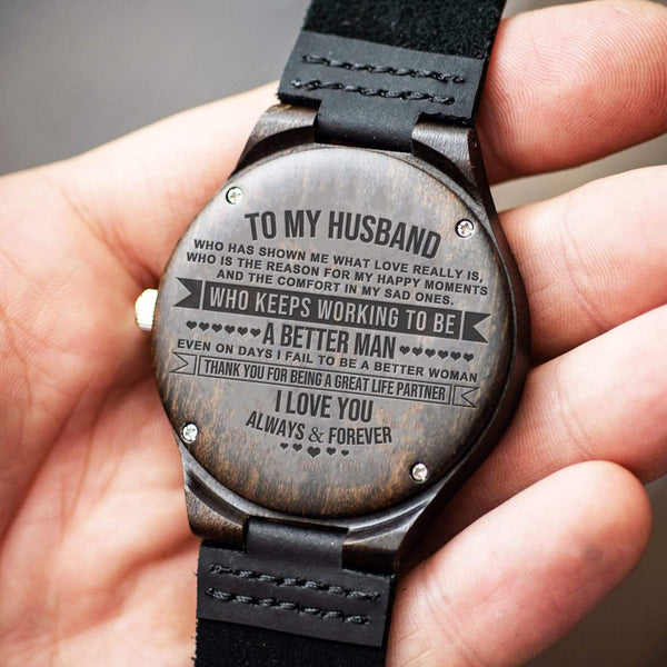 To My Husband - Wood Watch - WH-DF20B106
