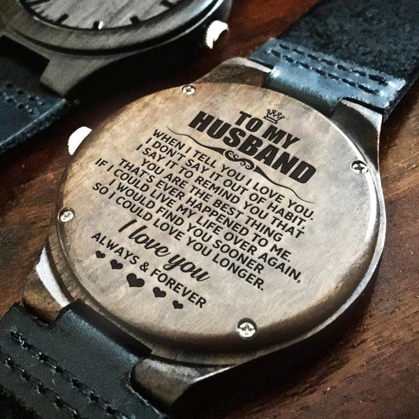 To My Husband - Wood Watch - WH-DF20B275