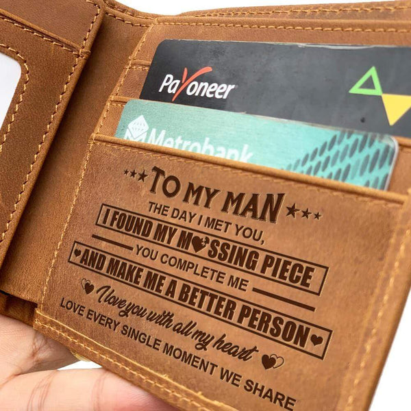 To My Man - Bi-fold Leather Wallet - WHWT01-FBOX18