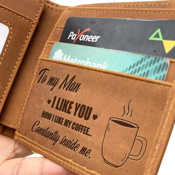 To My Man - Coffee - Bi-fold Leather Wallet - WHWT01-FBOX27