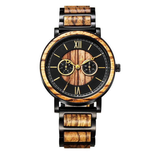 To My Man Watch - Alloy & Zebra Wood - WHH1-B-229