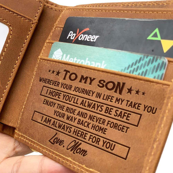 To My Son - From Mom - Bi-fold Leather Wallet - WHWT01-FBOX21