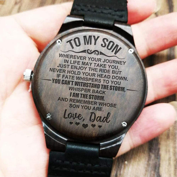To My Son - Love Dad - Wood Watch - WH-DF20B328