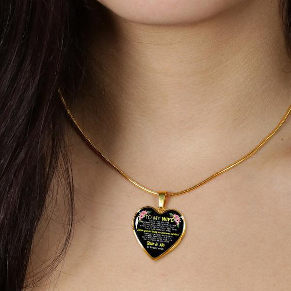 To My Wife - 18k Gold Love Necklace - FBHD08