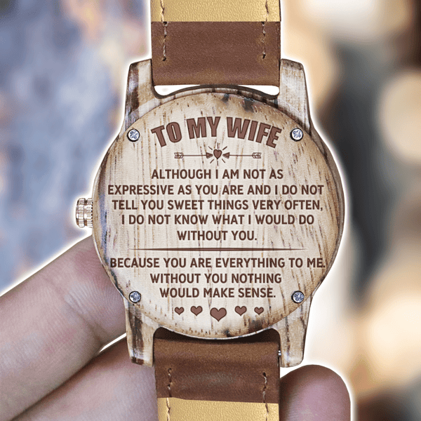 To My Wife - Rose Gold Zebrawood Watch - WH-DF25-25