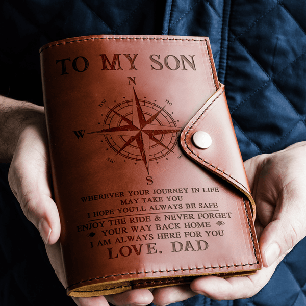 To Son - From Dad - Always Here For You - Leather Journal Cover