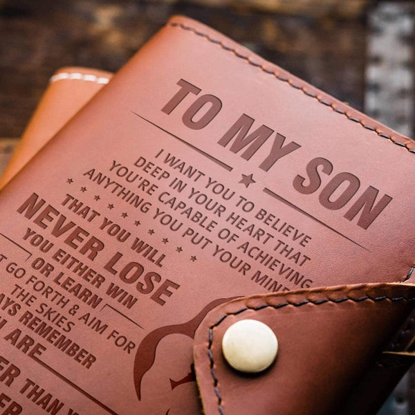 To Son - From Mom - Aim For The Skies - Leather Journal Cover