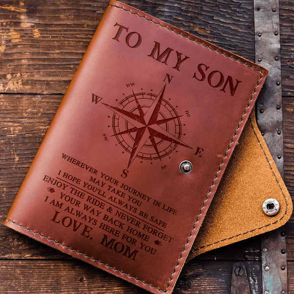 To Son - From Mom - Always Here For You - Leather Journal Cover