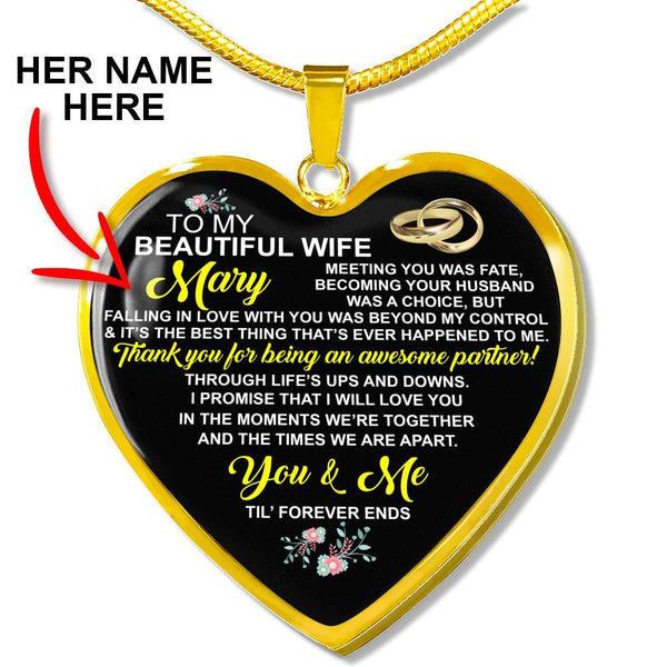 Wife - Custom Name - Heart Necklace - CustomSO-05