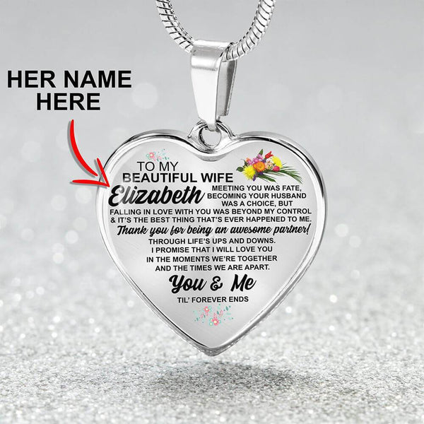 Wife - Custom Name - Heart Necklace - CustomSO-07