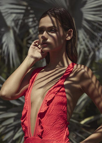 Beatrice Embroided Red One Piece