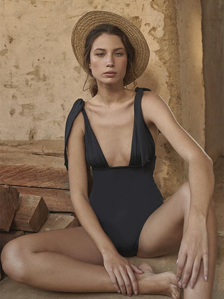 Charming Solid Black One Piece