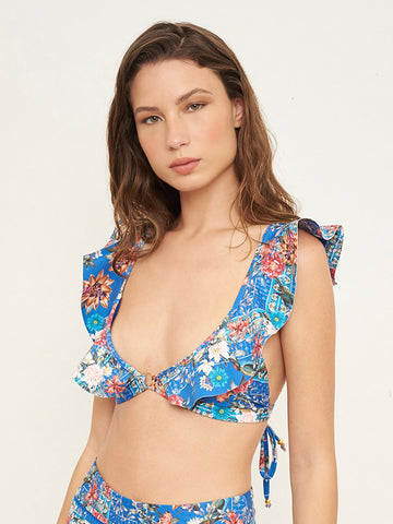 Juicy Blue Festival Print Top