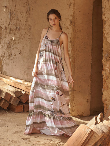 Melly  Striped Print Long Dress